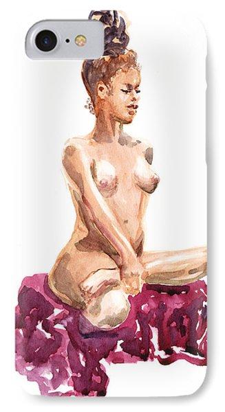 Nude Model Gesture Xi Royal Garnet IPhone Case by Irina Sztukowski