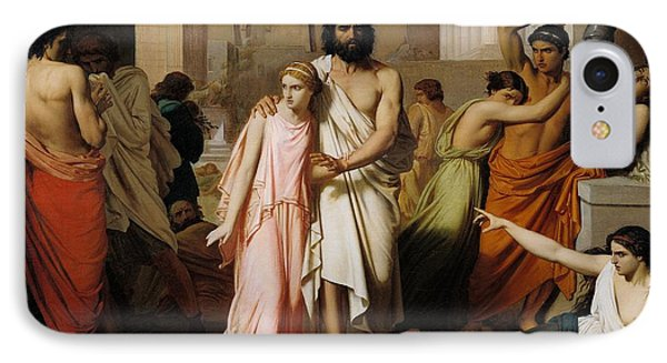 Oedipus And Antigone Or The Plague Of Thebes  IPhone Case by Charles Francois Jalabert