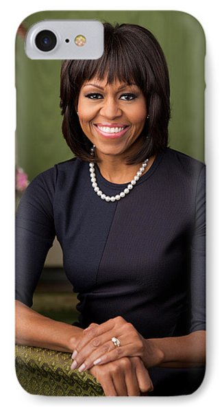 Official Portrait Of First Lady Michelle Obama IPhone Case by Celestial Images