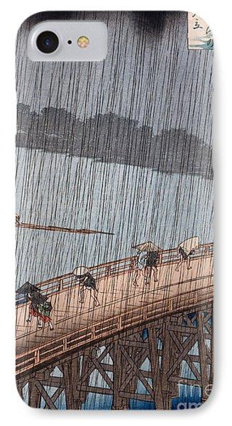 Ohashi Sudden Shower At Atake IPhone Case by Ando Hiroshige