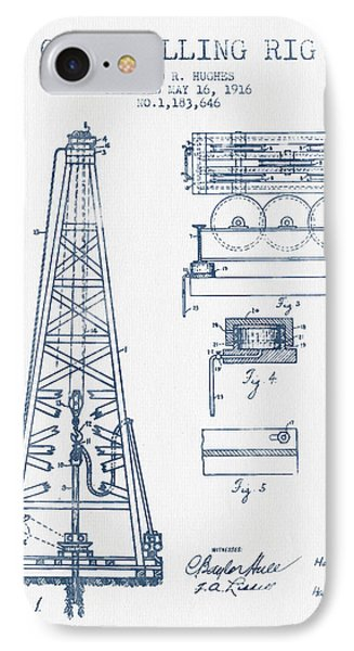 Oil Drilling Rig Patent From 1916 -  Blue Ink IPhone Case by Aged Pixel