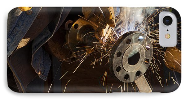 Oil Industry Pipefitter Welder IPhone Case by Keith Kapple