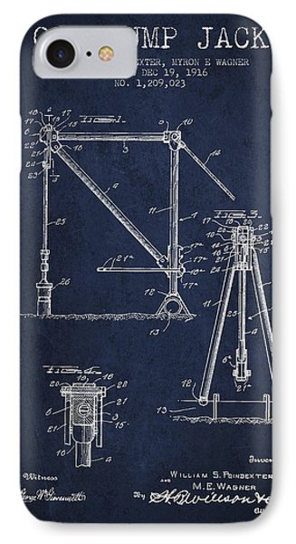 Oil Pump Jack Patent Drawing From 1916 - Navy Blue IPhone Case by Aged Pixel