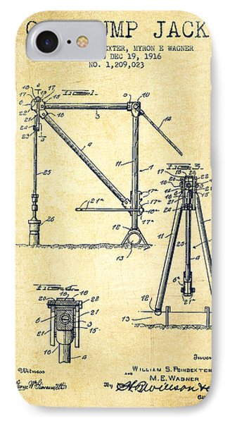 Oil Pump Jack Patent Drawing From 1916 - Vintage IPhone Case by Aged Pixel