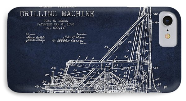 Oil Well Drilling Machine Patent From 1898 - Navy Blue IPhone Case by Aged Pixel