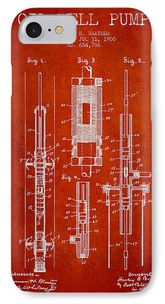 Oil Well Pump Patent From 1900 - Red IPhone Case by Aged Pixel