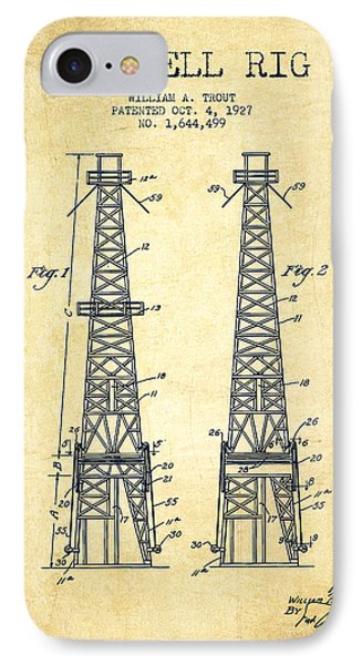 Oil Well Rig Patent From 1927 - Vintage IPhone Case by Aged Pixel