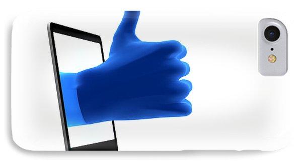 Okay Gesture Blue Hand From Screen Phone Case by Michal Bednarek
