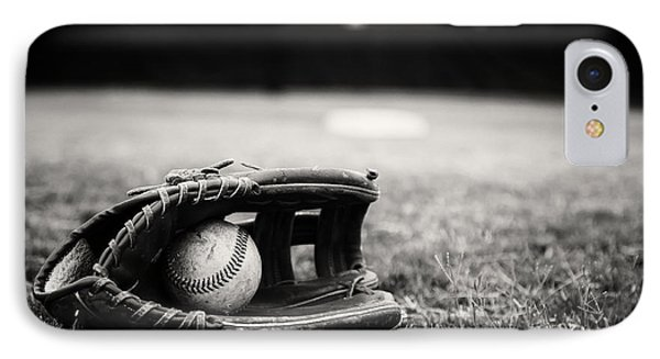 Old Baseball And Glove On Field Phone Case by Danny Hooks