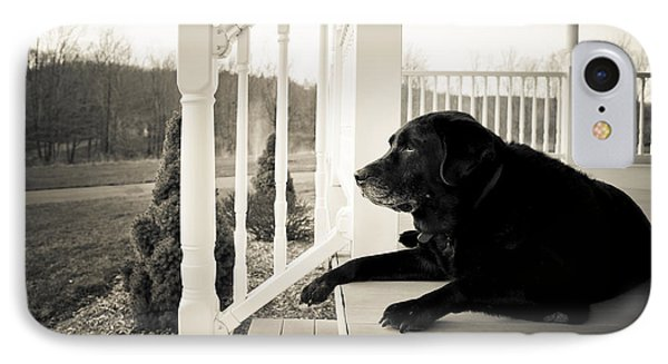 Old Dog On A Front Porch Phone Case by Diane Diederich