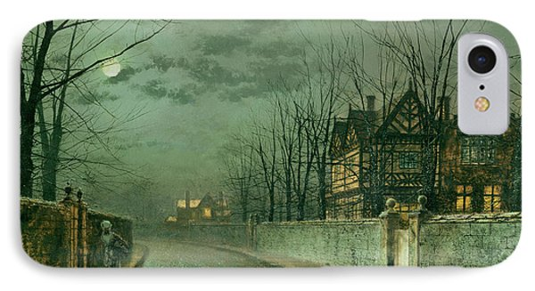 Old English House, Moonlight IPhone Case by John Atkinson Grimshaw