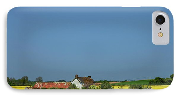 Old Farm Surrounded In Oilseed Rape IPhone Case by Panoramic Images