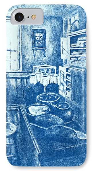 Old Fashioned Kitchen In Blue Phone Case by Kendall Kessler