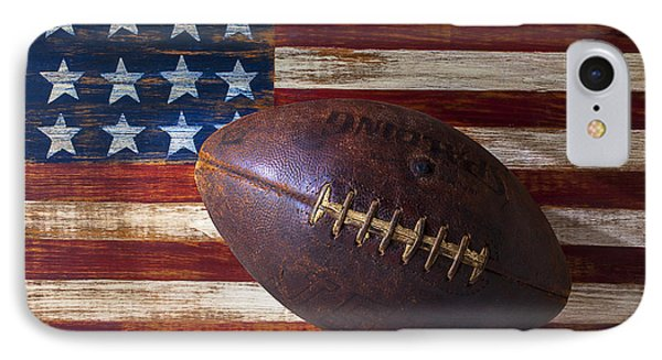 Old Football On American Flag IPhone Case by Garry Gay