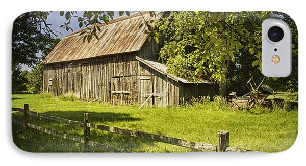 Old Rustic Barn And Wooden Fence IPhone Case by Randall Nyhof
