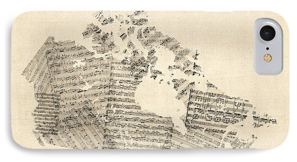 Old Sheet Music Map Of Canada Map IPhone Case by Michael Tompsett