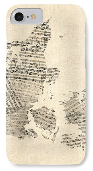 Old Sheet Music Map Of Denmark IPhone Case by Michael Tompsett