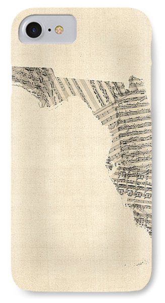 Old Sheet Music Map Of Florida IPhone Case by Michael Tompsett