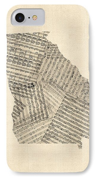 Old Sheet Music Map Of Georgia IPhone Case by Michael Tompsett