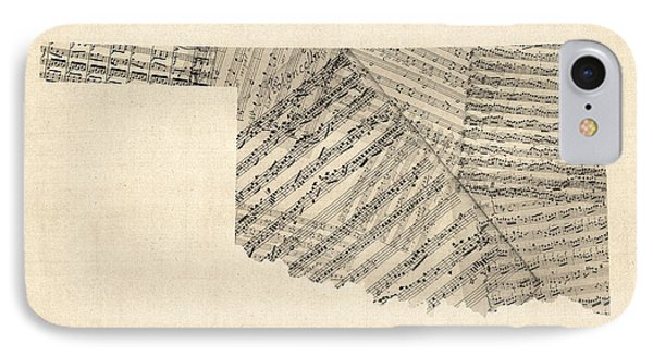 Old Sheet Music Map Of Oklahoma IPhone Case by Michael Tompsett