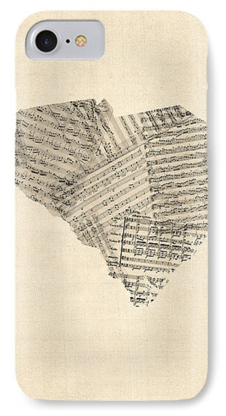 Old Sheet Music Map Of South Carolina IPhone Case by Michael Tompsett