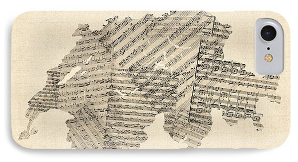 Old Sheet Music Map Of Switzerland Map IPhone Case by Michael Tompsett