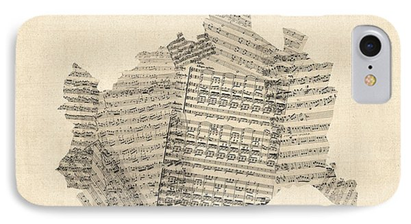 Old Sheet Music Map Of Vienna Austria Map IPhone Case by Michael Tompsett