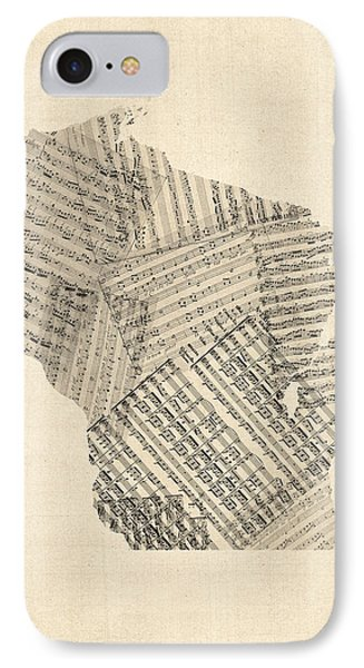 Old Sheet Music Map Of Wisconsin Phone Case by Michael Tompsett