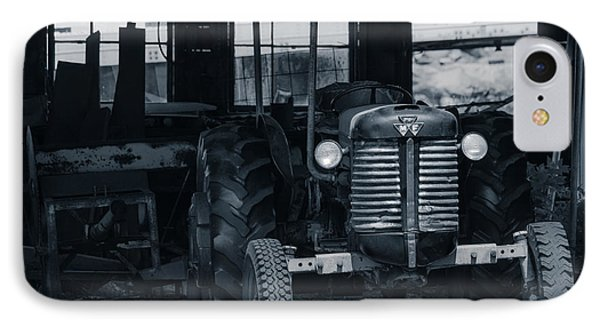 Old Tractor In The Barn IPhone Case by Edward Fielding