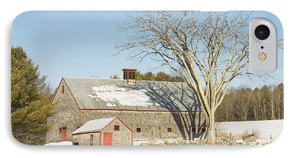 Old Wood Shingled Barn In Winter Maine IPhone Case by Keith Webber Jr