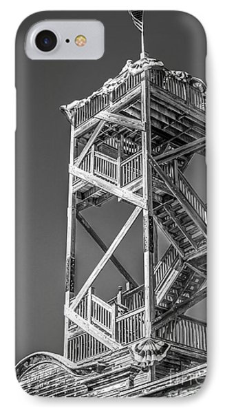 Old Wooden Watchtower Key West - Black And White IPhone Case by Ian Monk