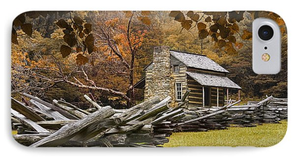 Oliver's Log Cabin During Fall In The Great Smoky Mountains IPhone Case by Randall Nyhof