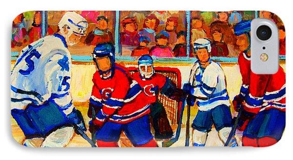 Olympic  Hockey Hopefuls  Painting By Montreal Hockey Artist Carole Spandau Phone Case by Carole Spandau