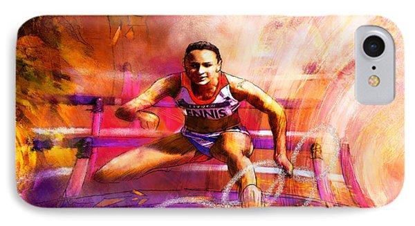 Olympics Heptathlon Hurdles 02 Phone Case by Miki De Goodaboom