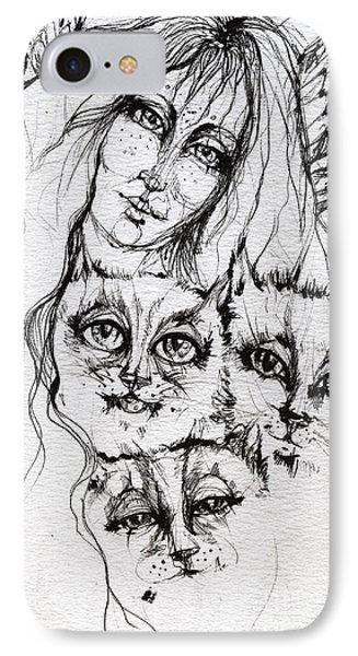 One Angel Three Cats Phone Case by Angel  Tarantella