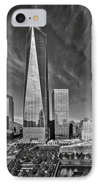 One World Trade Center Reflecting Pools Bw IPhone Case by Susan Candelario
