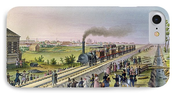 Opening Of The First Railway Line From Tsarskoe Selo To Pavlovsk In 1837 IPhone Case by Russian School