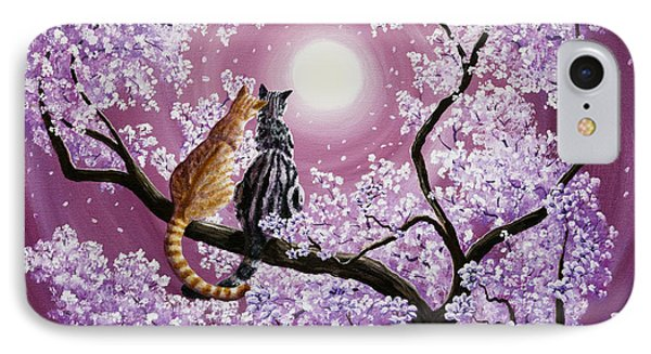 Orange And Gray Tabby Cats In Cherry Blossoms IPhone Case by Laura Iverson