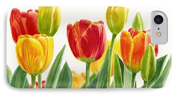 Orange And Yellow Tulips Horizontal Design IPhone Case by Sharon Freeman
