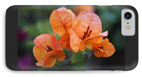 Orange Bougainvillea Phone Case by Rona Black