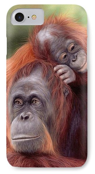 Orangutans Painting IPhone Case by Rachel Stribbling