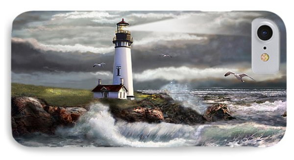 Oregon Lighthouse Beam Of Hope IPhone Case by Regina Femrite