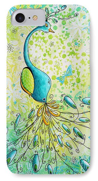 Original Acrylic Bird Floral Painting Peacock Glory By Megan Duncanson Phone Case by Megan Duncanson