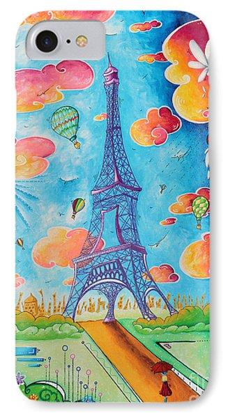 Original Paris Eiffel Tower Pop Art Style Painting Fun And Chic By Megan Duncanson IPhone Case by Megan Duncanson