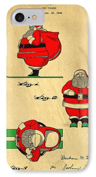 Original Patent For Santa On Skis Figure Phone Case by Edward Fielding