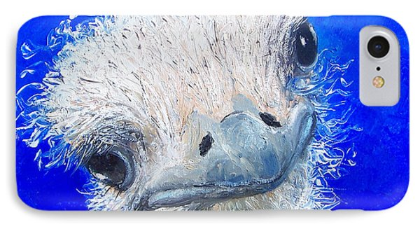 Ostrich Painting 'waldo' By Jan Matson IPhone Case by Jan Matson
