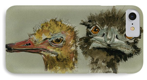 Ostrichs Head Study IPhone Case by Juan  Bosco