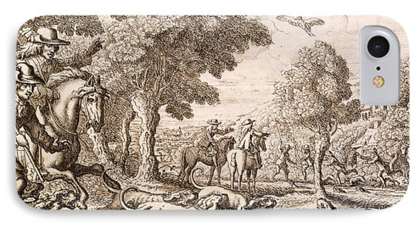 Otter Hunting By A River, Engraved IPhone Case by Francis Barlow