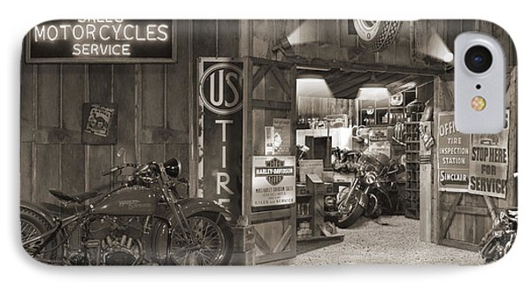 Outside The Old Motorcycle Shop - Spia IPhone Case by Mike McGlothlen