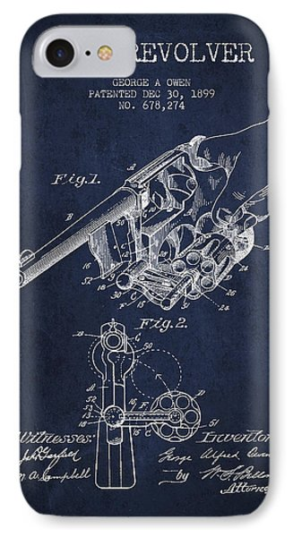 Owen Revolver Patent Drawing From 1899- Navy Blue Phone Case by Aged Pixel